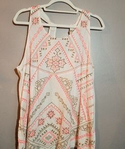 Lucky Brand Aztec embroidered tank XL